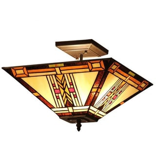 Tiffany Style Mission Design 2-light Flush in Dark Antique Bronze Finish