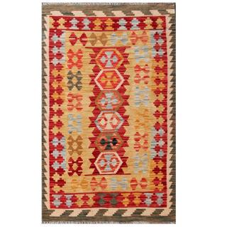 Herat Oriental Afghan Hand-woven Tribal Kilim Gold/ Red Wool Rug (3' x 5'2)