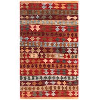 Herat Oriental Afghan Hand-woven Tribal Kilim Red/ Blue Wool Rug (3' x 5'1)