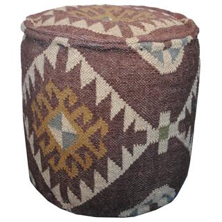 Herat Oriental Indo Kilim Upholstered Puff Ottoman (India)