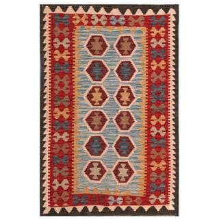 Herat Oriental Afghan Hand-woven Tribal Kilim Light Blue/ Red Wool Rug (3'2 x 4'11)