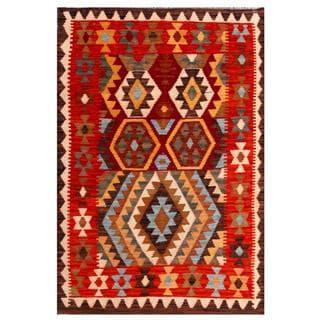 Herat Oriental Afghan Hand-woven Tribal Kilim Red/ Light Blue Wool Rug (3'5 x 5'1)