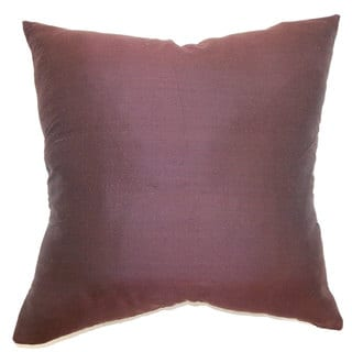 Uzma Eggplant Plain Feature Filled 18-inch Throw Pillow