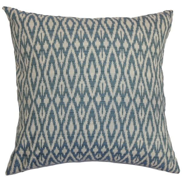Hafoca Ikat Down Fill Denim Throw Pillow