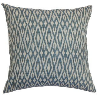 Hafoca Ikat Down Fill Denim Throw Pillow
