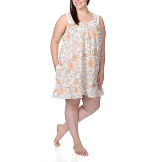 La Cera Women's Plus Size Fower Print Nightgown