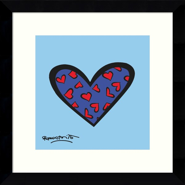 Romero Britto 'Blue About You' Framed Art Print 12 x 12-inch