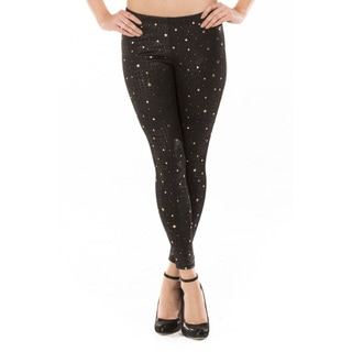 Women's Leather Gold Star Leggings