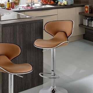 Adeco Coffee-colored Cushioned Leatherette Adjustable Barstool (Set of 2)