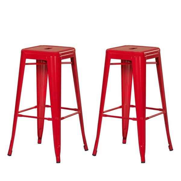 Adeco Sheet Iron Red High Gloss Tolix Style Barstool Set