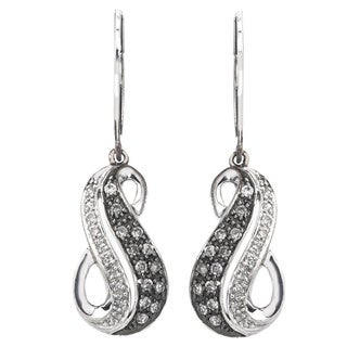 Sterling Silver 1/3ct TDW SilverMist White and Grey Diamond Swirl Earrings (H-I, I2-I3)
