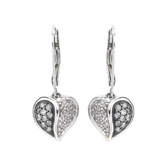 Sterling Silver 1/3ct TDW SilverMist White and Grey Diamond Heart Earrings (H-I, I2-I3)