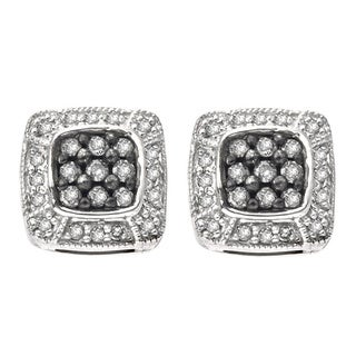 Sterling Silver 1/3ct TDW SilverMist White and Grey Diamond Earrings (H-I, I2-I3)