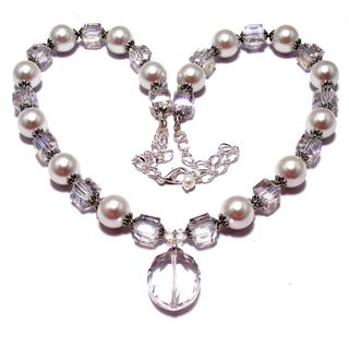White Pearl and Clear Crystal 4-piece Jewelry Set