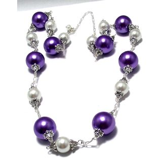Violet Purple and White Glass Pearl 4-piece Jewelry Set
