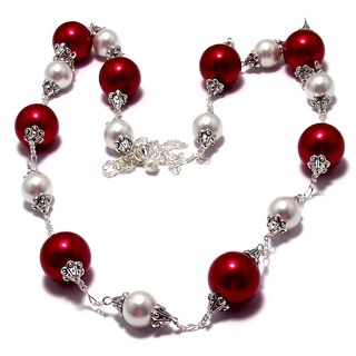 Cherry Red and White Pearl 4-piece Wedding Jewelry Set