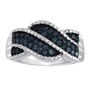 Sterling Silver Blue Round-cut Diamond Accent Ring