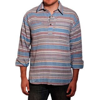 Handmade Men's Azul Cotton Long Sleeve Shirt (Nepal)