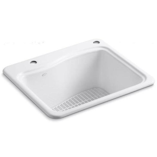Best Utility Sink : Kohler River Falls White Top-mount Cast Iron 2-hole Utility Sink ...