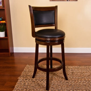 Natural Finished Black Upholstered Swivel Stool