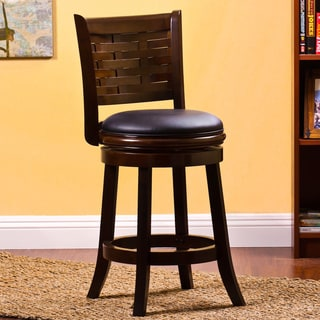 Hardwood Weave-back Swivel Stool