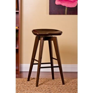 Contemporary Contoured Seat Hardwood Swivel Stool
