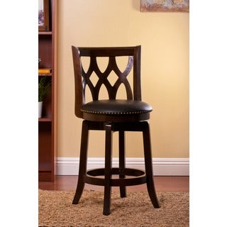Sophisticated Black Upholstered Natural Finish Swivel Stool