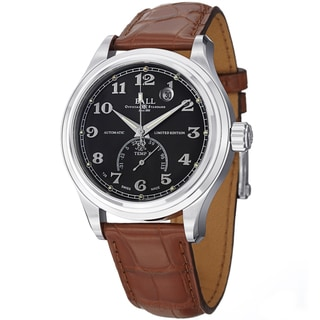 Ball Men's NT1050D-LJ-BKF 'Trainmaster Fahrenheit' Black Dial Brown Leather Strap Watch