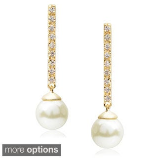 Journee Collection Brass Cubic Zirconia Faux Pearl Drop Earrings