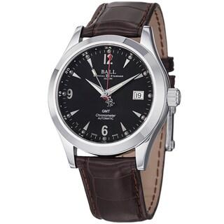 Ball Men's GM1032C-L2CJ-BK 'Engineer Ohio GMT' Black Dial Brown Leather Strap Watch