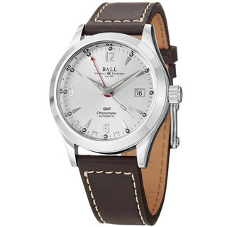 Ball Men's GM1032C-L2CJ-SL 'Engineer Ohio GMT' Silver Dial Brown Leather Strap Watch