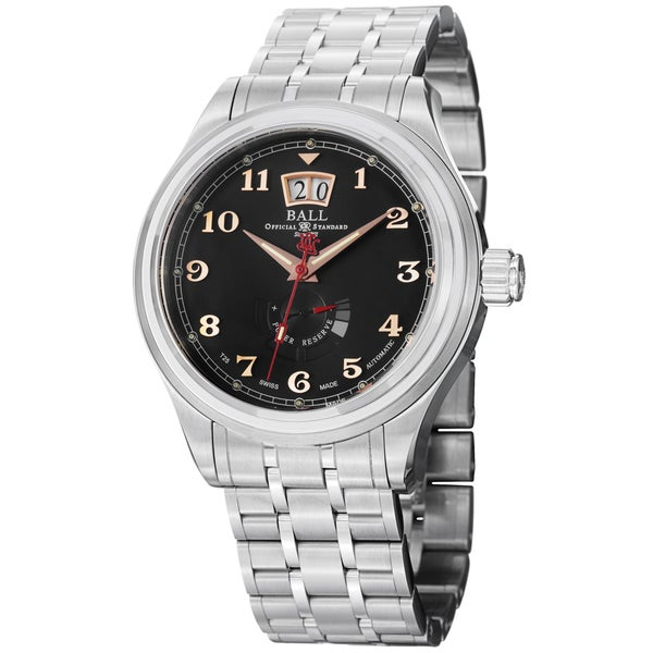 Ball Men's PM1058D-SJ-BK 'Trainmaster Cleveland' Black Dial Stainless Steel Watch