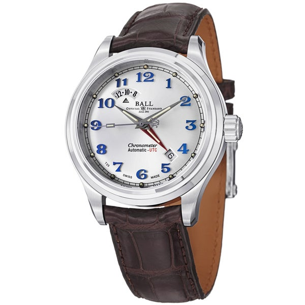 Ball Men's GM1020D-LCJSL 'Trainmaster Cleveland Express' Silver Dial Brown Leather Strap Dual Time Watch