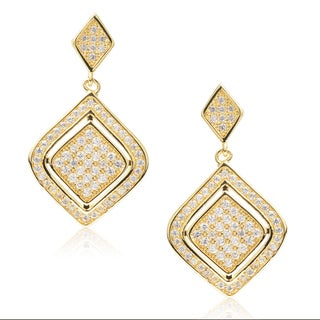 Journee Collection Brass Goldtone Cubic Zirconia Dangle Earrings