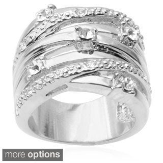 Journee Collection Brass Cubic Zirconia Multi-strand Ring