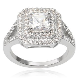 Journee Collection Brass Cubic Zirconia Engagment Ring
