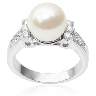 Journee Collection Brass Cubic Zirconia Faux Pearl Engagement Ring