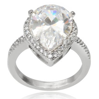 Journee Collection Brass Cubic Zirconia Tear-drop Engagement Ring