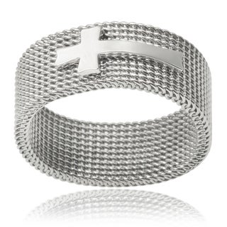 Vance Co. Men's Stainless Steel Cross Mesh Ring