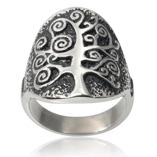 Vance Co. Men's Stainless Steel Tree Of Life Ring