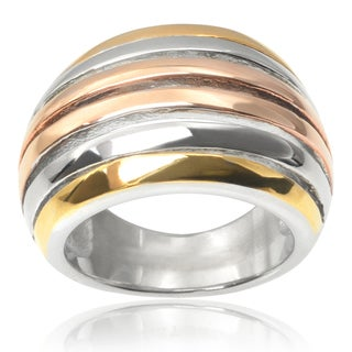 Journee Collection Stainless Steel Tri-tone Ring