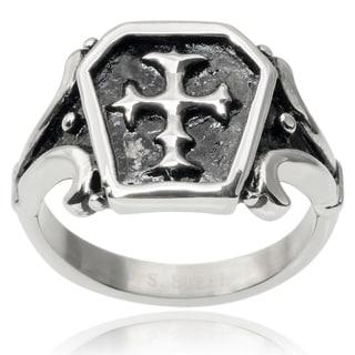Vance Co. Men's Stainless Steel Cross Ring
