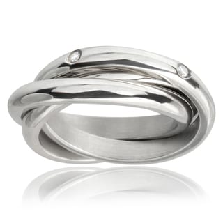 Journee Collection Stainless Steel Cubic Zirconia Bands (3 mm)