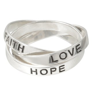 Tressa Collection Sterling Silver 'Faith, Hope, Love' Bands (3 mm)