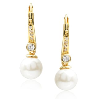 Journee Collection Brass Cubic Zirconia Faux Pearl Earrings