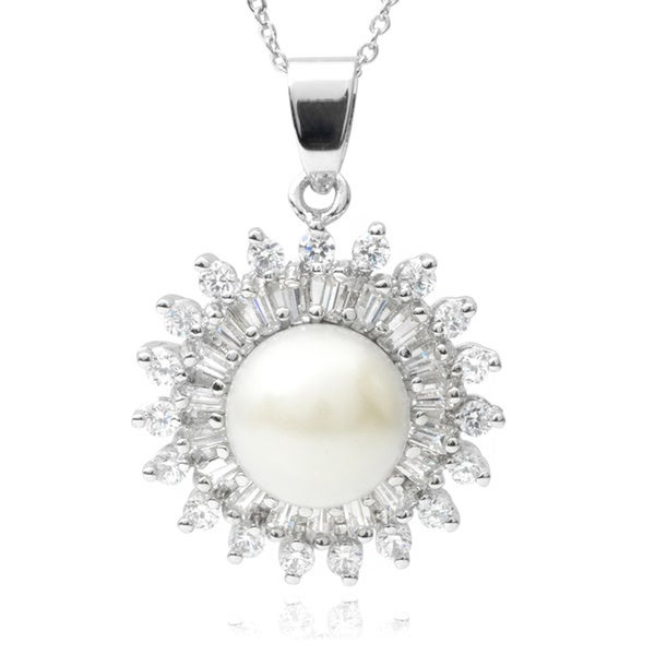 Journee Collection Cubic Zirconia Faux Pearl Pendant
