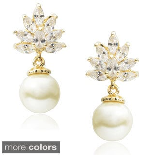 Journee Collection Brass Cubic Zirconia Faux Pearl Dangle Earrings