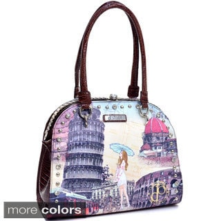 Rome Print Rhinestone Shoulder Bag