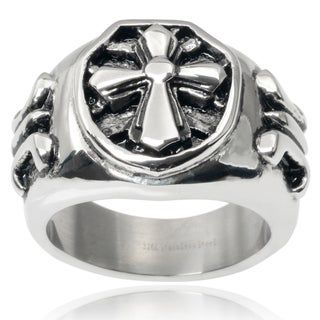 Vance Co. Men's Stainless Steel Cross Ring