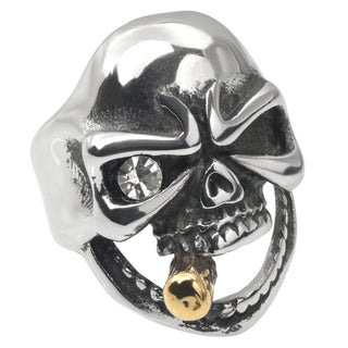 Vance Co. Men's Stainless Steel Cubic Zirconia Skull Ring